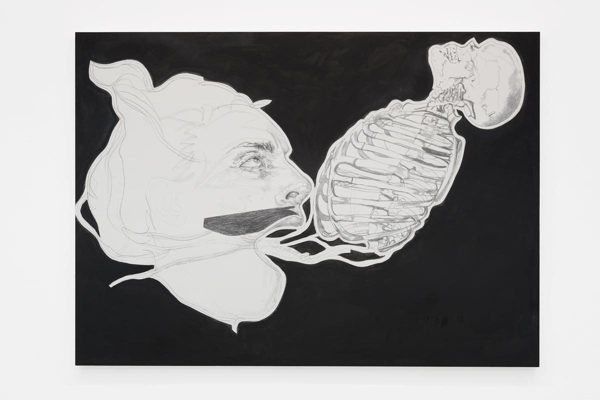 Franz Graf, We don't Talk to Strangers, Graphit & Tusche auf Holz, 180 x 250 cm, 2018
