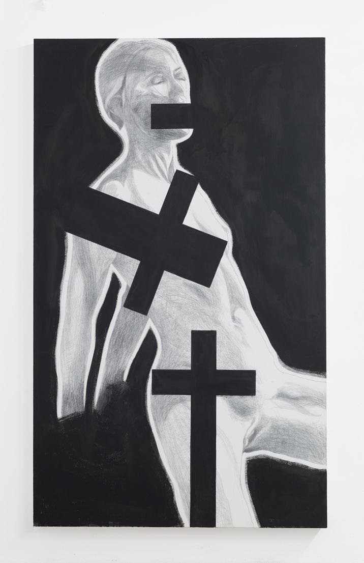 Franz Graf, CALVARY (get fucked) At que  nigrum pallium meum autem discedaite a ME, Graphit & Tusche auf Holz, 200 x 120 cm, 2018