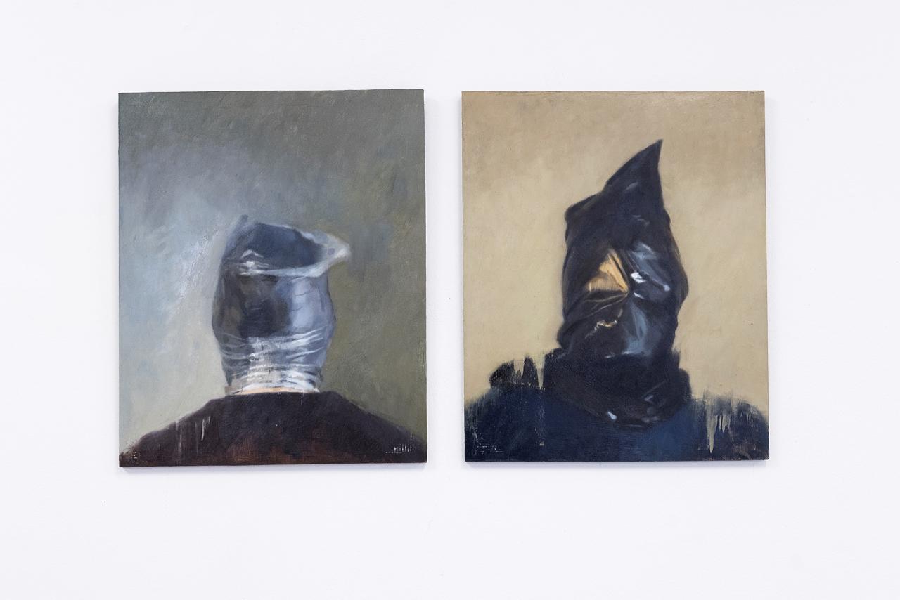 "Roald Sivertsen (N) ""Bag on head (back/front)"" oil on canvas, 50 x 41 cm, 2018"