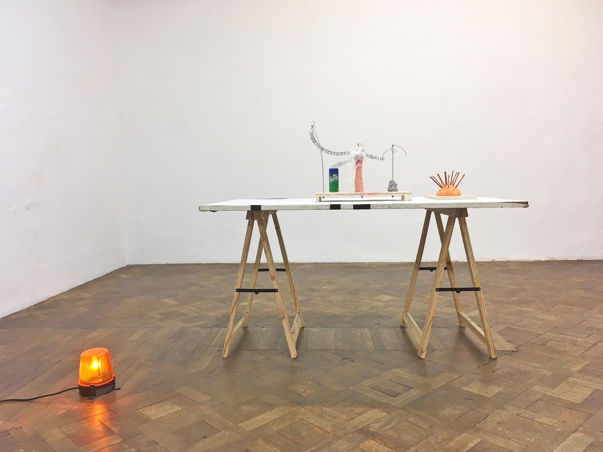 Installationsansicht, Martin Grandits, Büro Weltausstellung, 2018, Handyfoto: S.Geiger