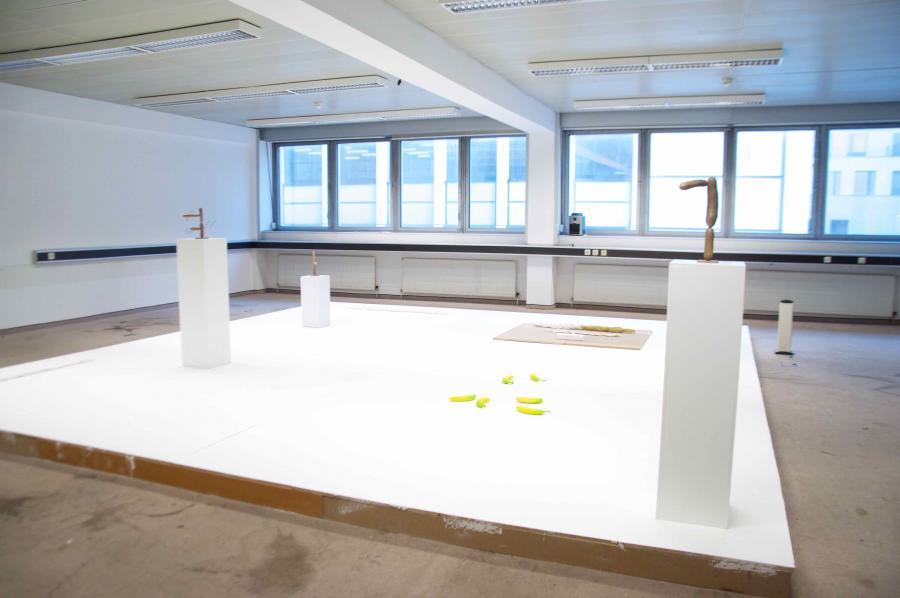 "Installationsansicht, Ausstellung ""Martin Grandits & Erwin Wurm"", Büro Weltausstellung @Parallel 2017"