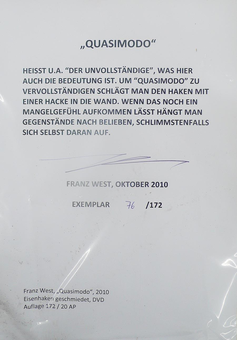 "Franz West, ""Quasimodo"", 2010, Detailansicht: Zertifikat"