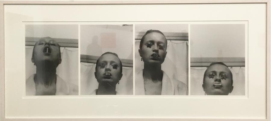 BIRGIT JÜRGENSSEN SIS; SOS; XOX; X-X b/w photographs each 27,5 x 21 cm; framed: 47,5 x 105 cm 1979/2007,  Edition 2/3, Estate Birgit Jürgenssen (ed49)