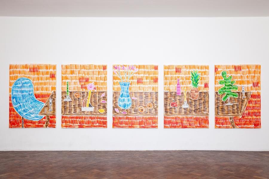 "Rade Petrasevic ""Fuck the system (Schau ma mol)"" Part 41, 5x 140x100 cm, Öl auf Leinwand, 2015"