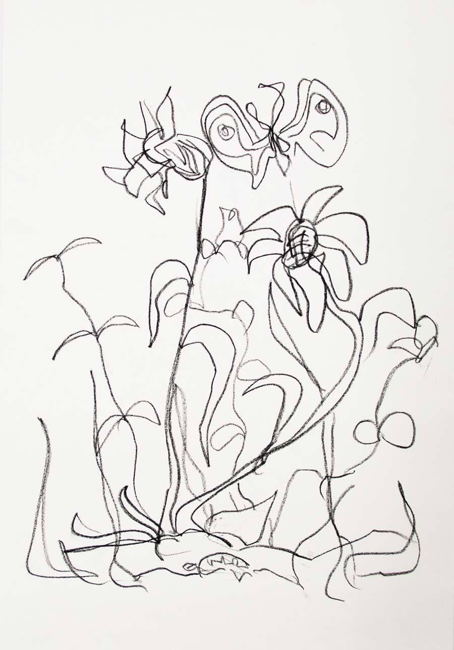 """mard3"", 2014, 42x29,5cm, black chalk on paper"