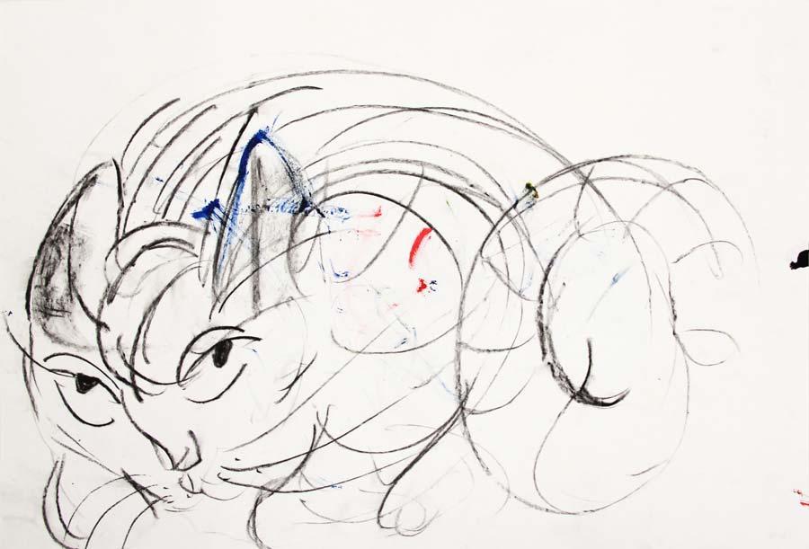 """gittD"", 2014, 42x29,5cm, charcoal &acrylic on paper"