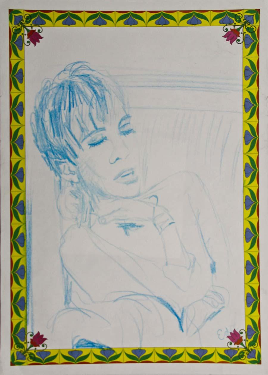 """Edie with flower frame"", 1995, 42x29,5cm, colour pencil on paper"