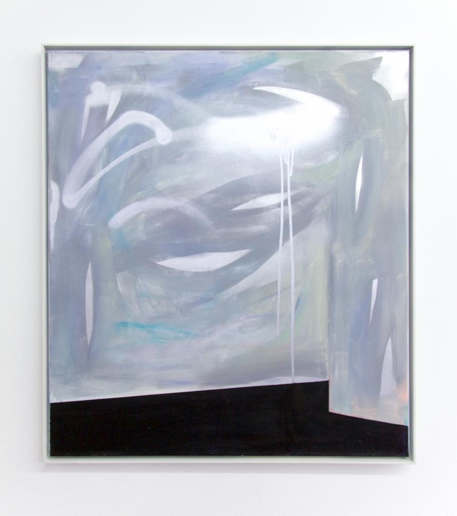 """Nino Sakandelidze, """"scroll down to you"""", Öl und Spray auf Leinwand, 80 x 80 cm, 2015"""