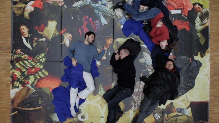 Ukrainian protesters by Filip Singer, European Pressphoto agency (Still from Sleepers' Manifesto by Barbora Kleinhamplová & Tereza Stejskalová)