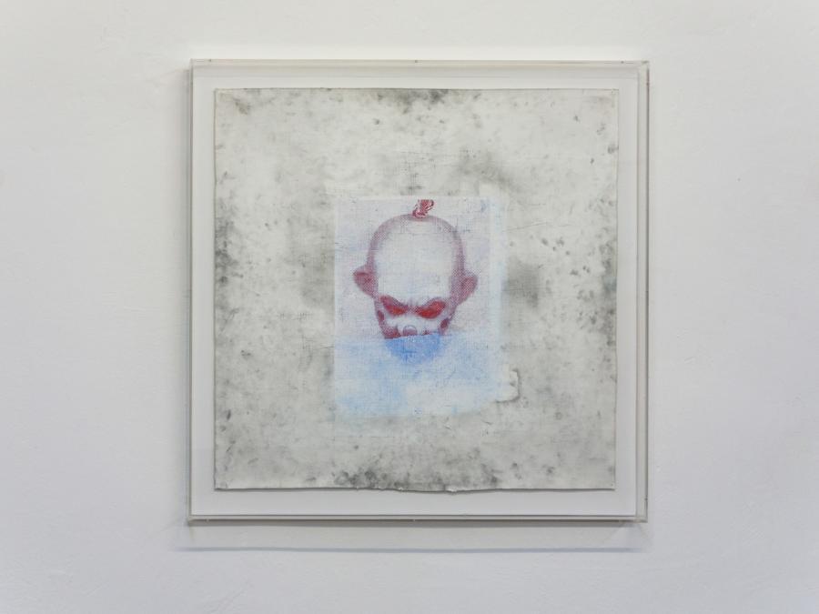 BERNHARD FRUE CelebJokerRot Tusche, Transferfolie auf Acryl auf Papier 70 x 70 cm gerahmt 79,5 x 79 x 6 cm 2017