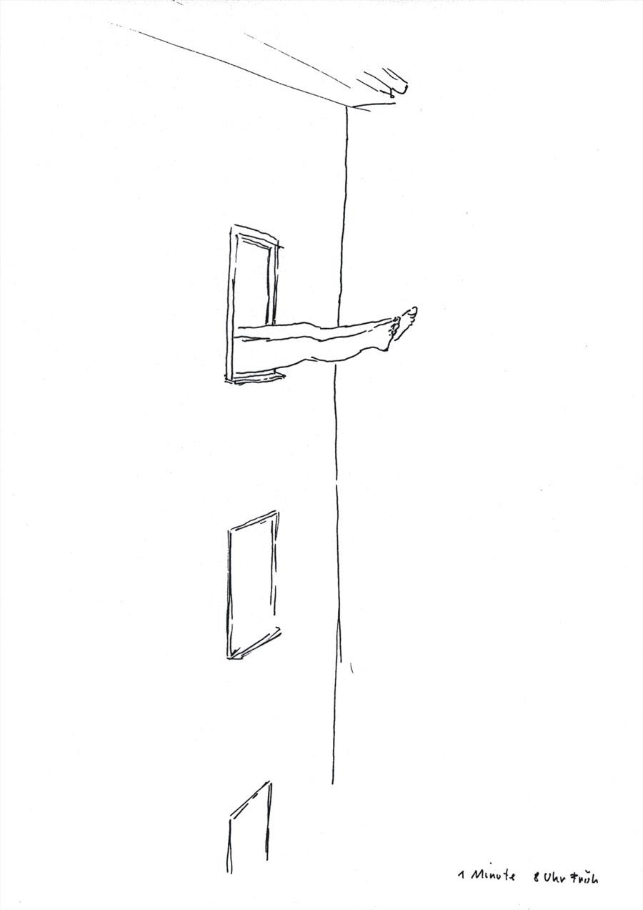 "Erwin Wurm, aus der Serie ""One Minute Sculpture"": ""Do it at the park Av. Hotel at 8.00 am"", 29,7 x 21 cm, Fine line on paper, 2002, Foto © Studio Wurm"