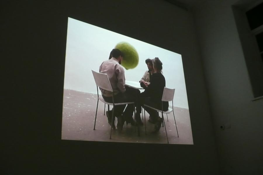 for a while, who knows how long - projection - talk without words (christopher wool) by marina faust and franz west