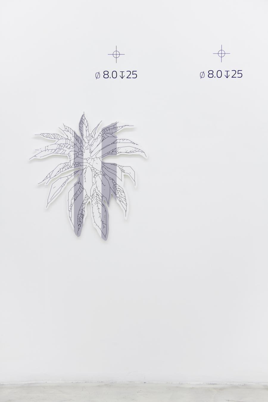 Richard Nikl, Plant (double grey), UV-print on PVC, 72 x 77 cm, 2015