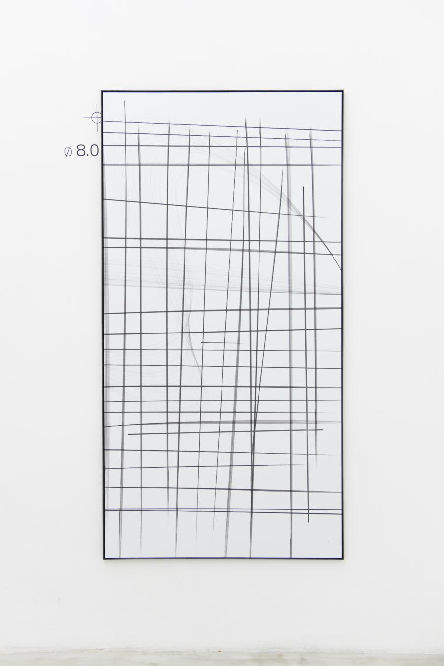 Marina Sula, Drawing - office, tablet drawing, UV-print on Dibond, laser cut, steel, 172 x 89, 2015