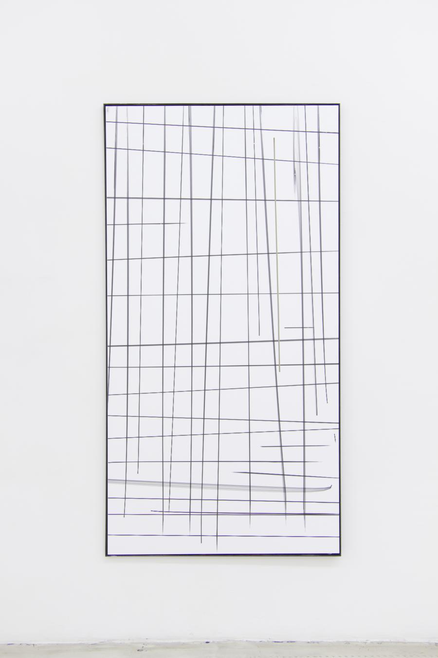 Marina Sula, Drawing - metro, tablet drawing, UV-print on PVC, laser cut, steel, 172 x 89, 2015