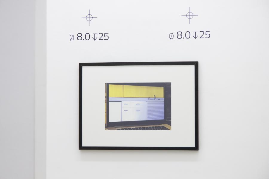 Marina Sula, Sarah and Mies, inkjet print on fine art paper, 50 x 70 cm, 2015 / Richard Nikl, Drill Marks, vinyl decals, various dimensions, 2015