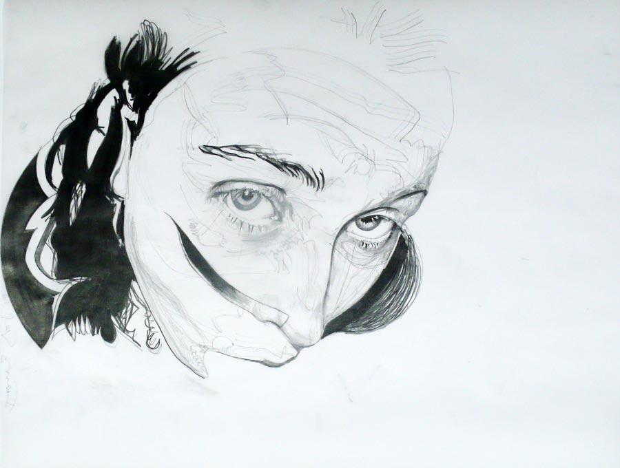 Franz Graf, WOMAN 1, 70 x 90 cm, Bleistift auf Transparentpapier, 2013, signiert