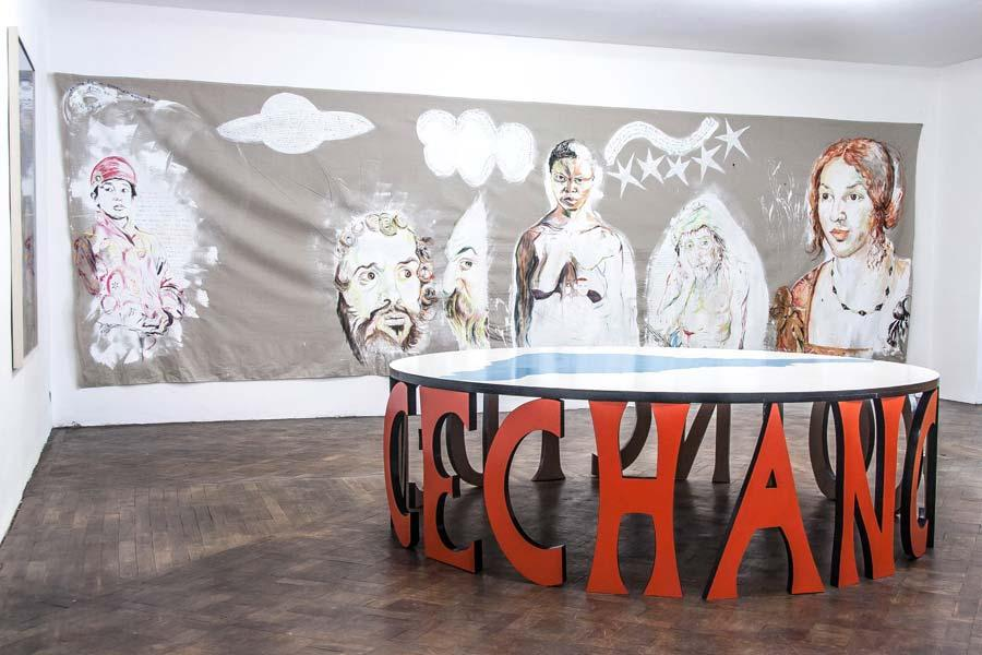 Elke Silvia Krystufek, Installationsansicht Büro Weltausstellung