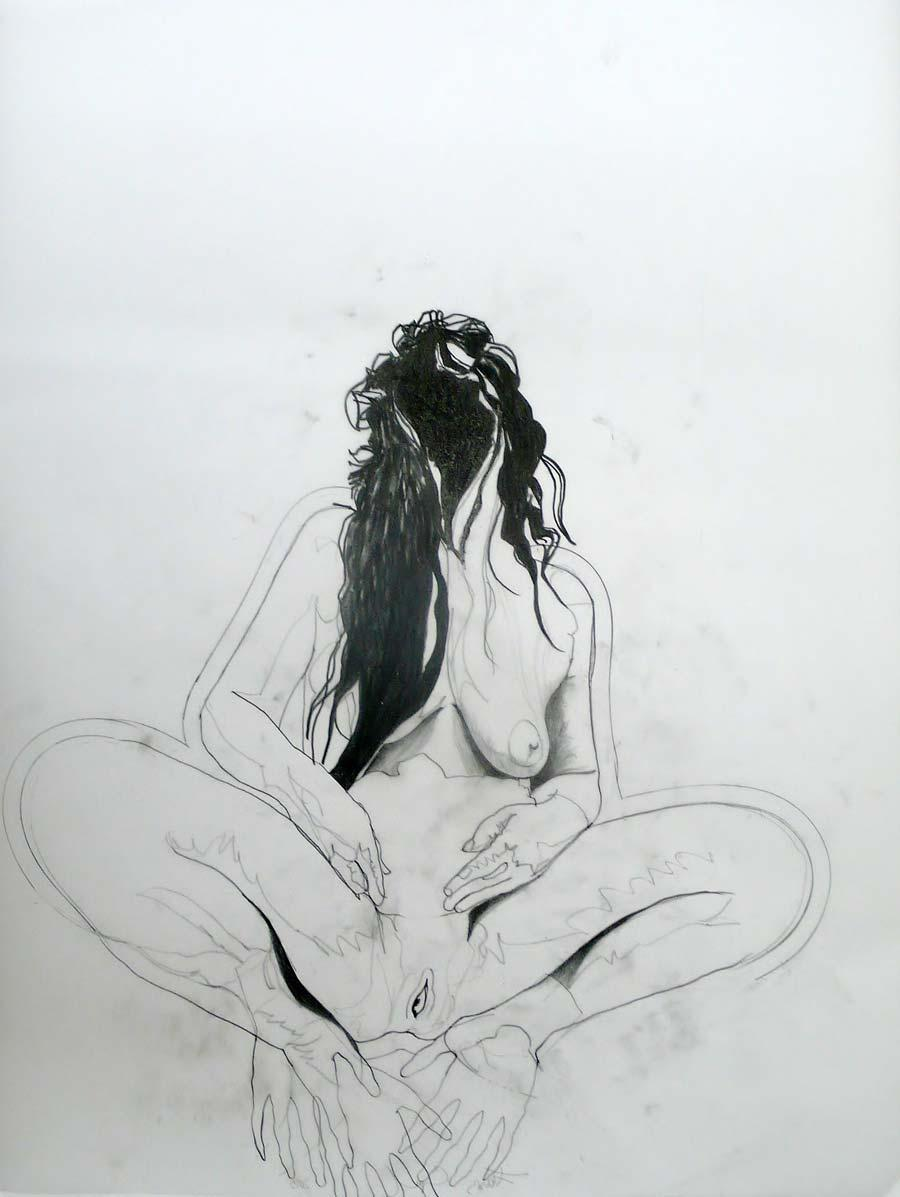 Franz Graf, WOMAN 3, 90 x 70 cm, Bleistift auf Transparentpapier, 2013, signiert