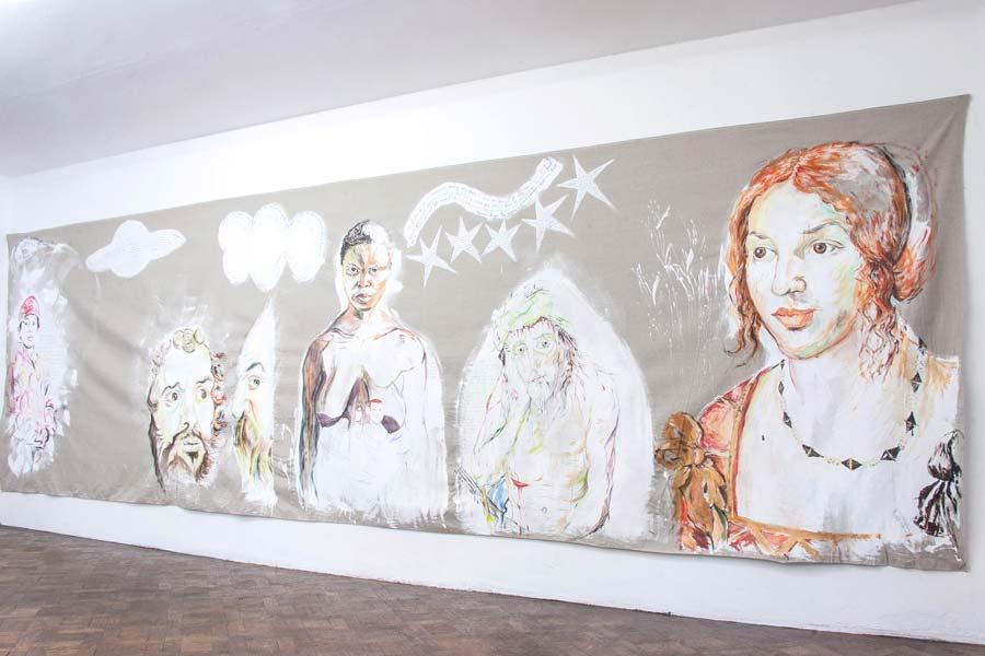 "Elke Silvia Krystufek, ""Hope"", 2004, 200 x 700 cm, Acryl auf Leinwand"