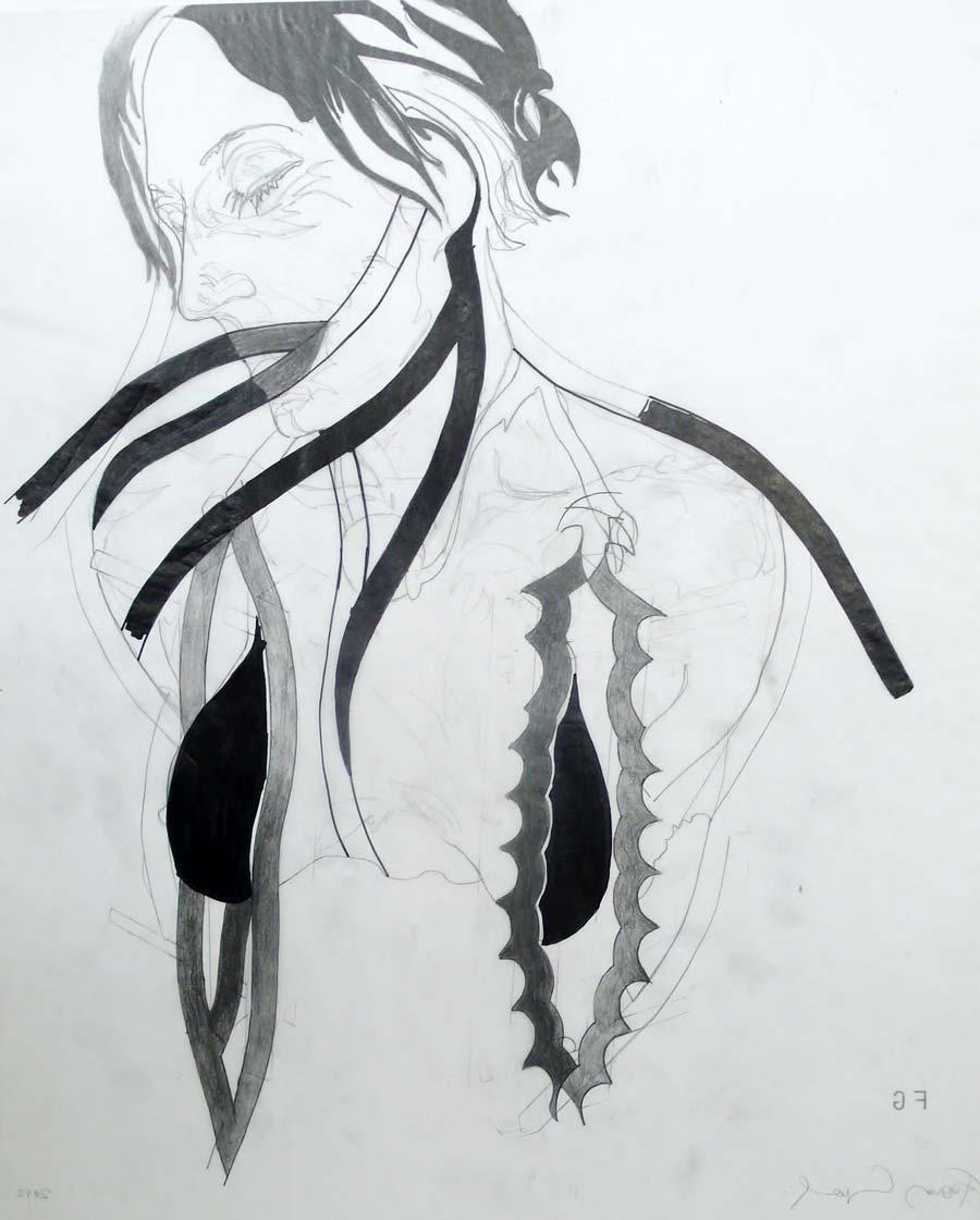 Franz Graf, WOMAN 4, 60 x 49,5 cm, Bleistift und permanent Marker auf Transparentpapier, 2012, signiert