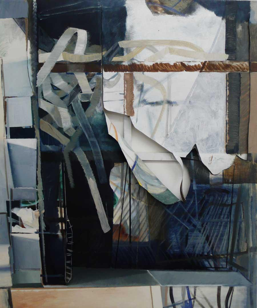 "Katherina Olschbaur, ""Fenster Kaputt Bild"", 180 x 150 cm, Öl und Lack auf Leinwand, 2013"