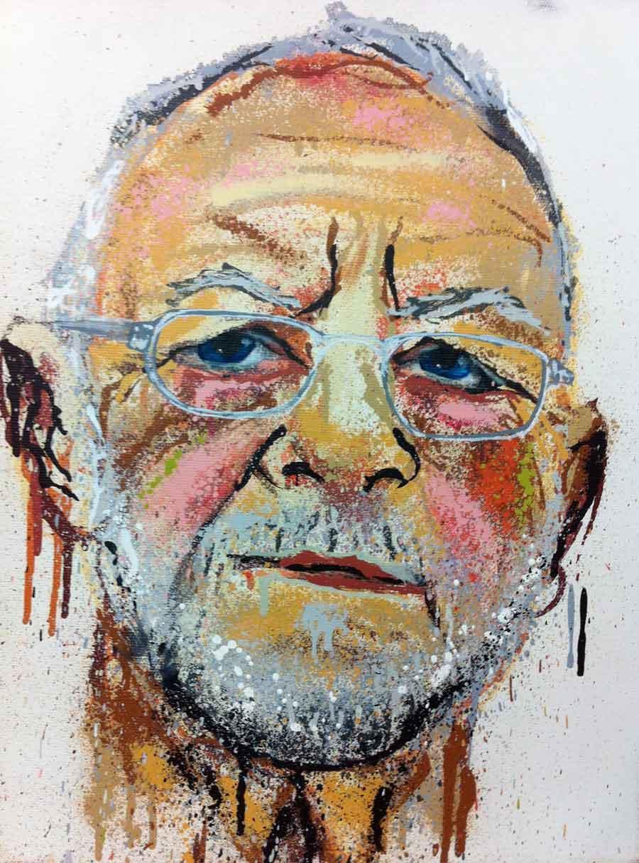"""Judith Rohrmoser, """"Gerhard"""" aus: """"ACEPHAL (WHO'S YOUR DADDY)"""" Männer Portätserie, 40 x 30 cm, Lack/Acryl auf Leinwand, 2012 – present"""