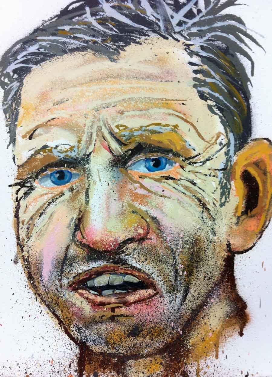 """Judith Rohrmoser, """"Albert"""" aus: """"ACEPHAL (WHO'S YOUR DADDY)"""" Männer Portätserie, 40 x 30 cm, Lack/Acryl auf Leinwand, 2012 – present"""