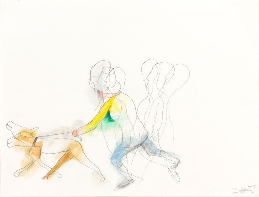 """""""MANN MIT HUND"""", 1994, 42 x 55 cm, Buntstift auf Papier"""