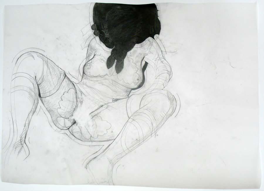 Franz Graf, WOMAN 9, 56 x 42 cm, Bleistift und permanent Marker auf Transparentpapier, 2012, signiert