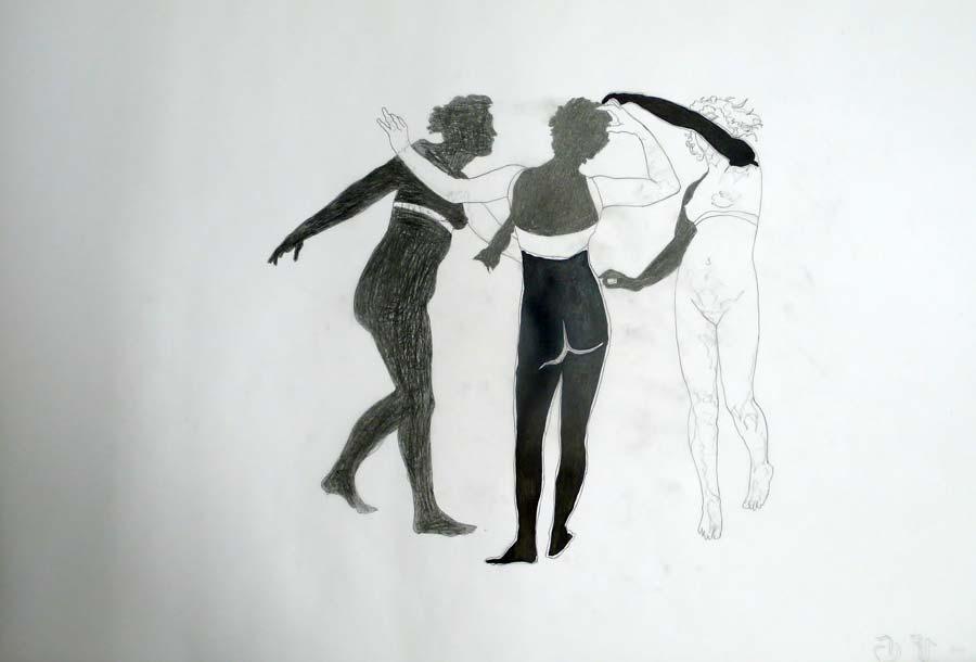 Franz Graf, WOMAN 12, 70 x 100 cm, Bleistift und permanent Marker auf Transparentpapier, 2013, signiert