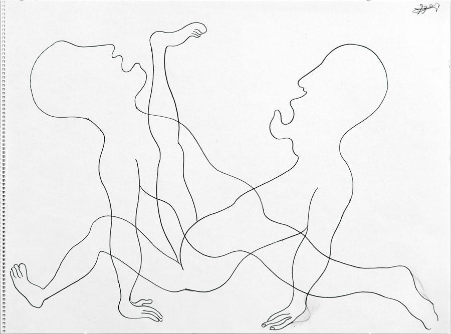 """""""KAMPF"""", 1993, 42 x 55 cm, Buntstift auf Papier"""
