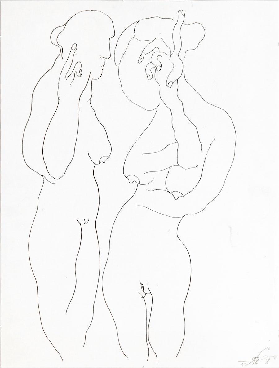 """""""GESPRÄCHE"""", 1998, 55 x 42 cm, Bleistift auf Papier"""