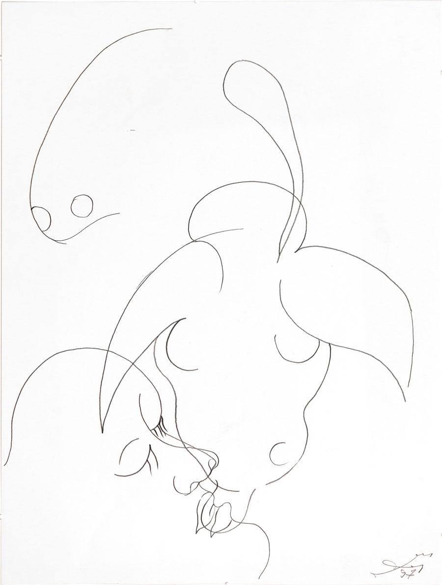 """""""LIEBER STIER"""", 1997, 55 x 42 cm, Bleistift auf Papier"""