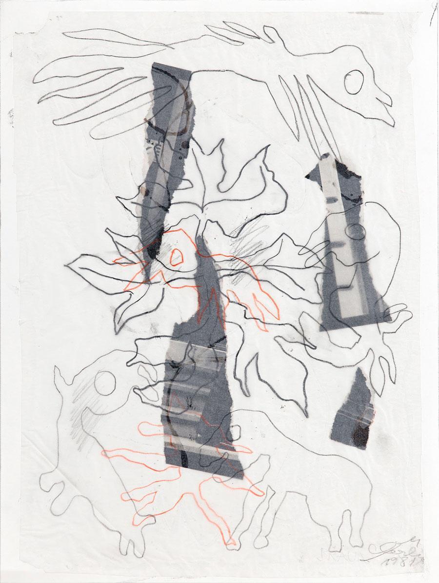 """""""TIERE"""", 1981, 55 x 42 cm, Mischtechnik auf Papier"""