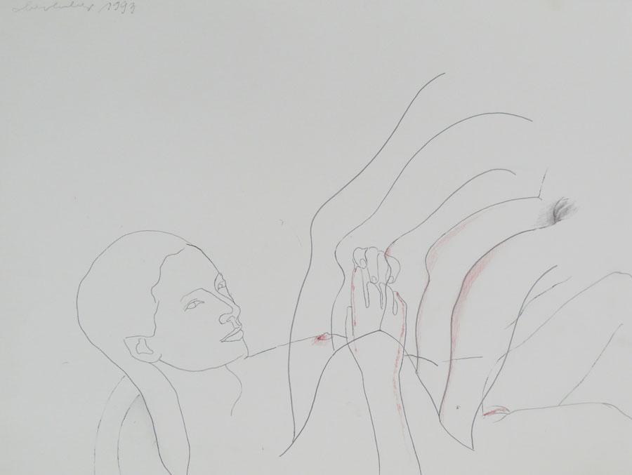 """""""ÜBERLEGUNG"""", 1993, 55 x 43 cm, Buntstift auf Papier"""
