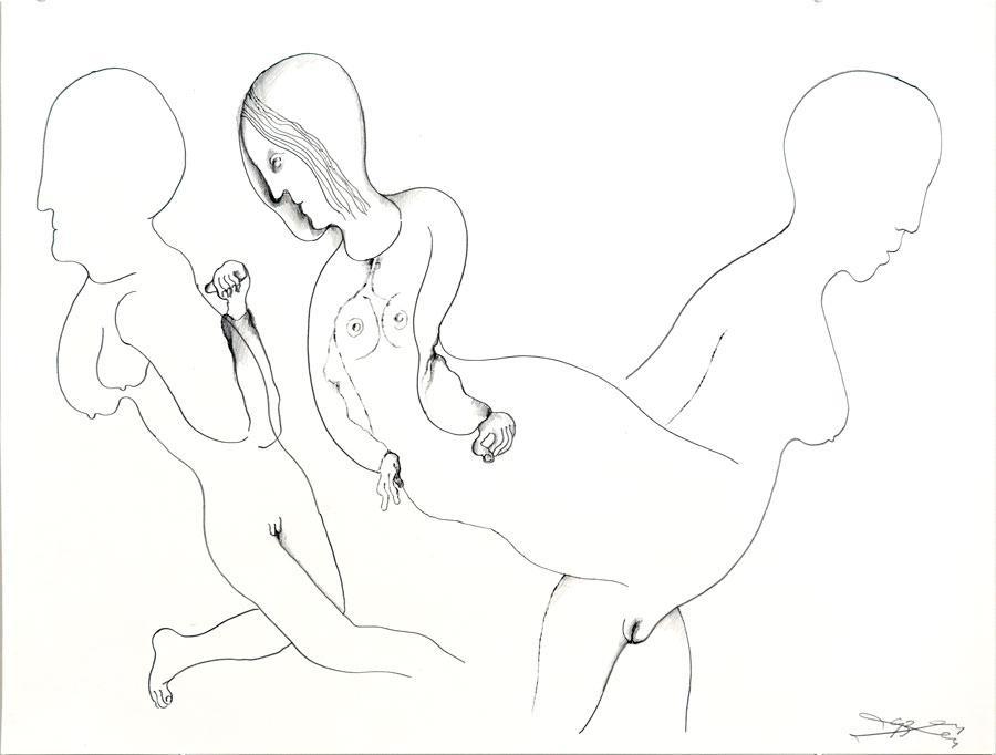 """""""KEINE ZUNEIGUNG"""", 1993, 42 x 55 cm, Bleistift auf Papier"""