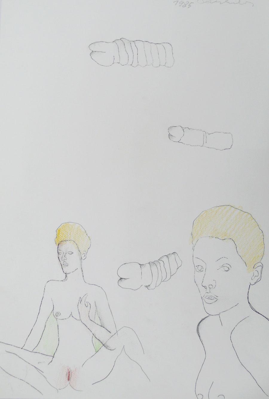 """""""LIEBESSPIELE 4"""", 1985, 44 x 30 cm, Buntstift auf Papier"""