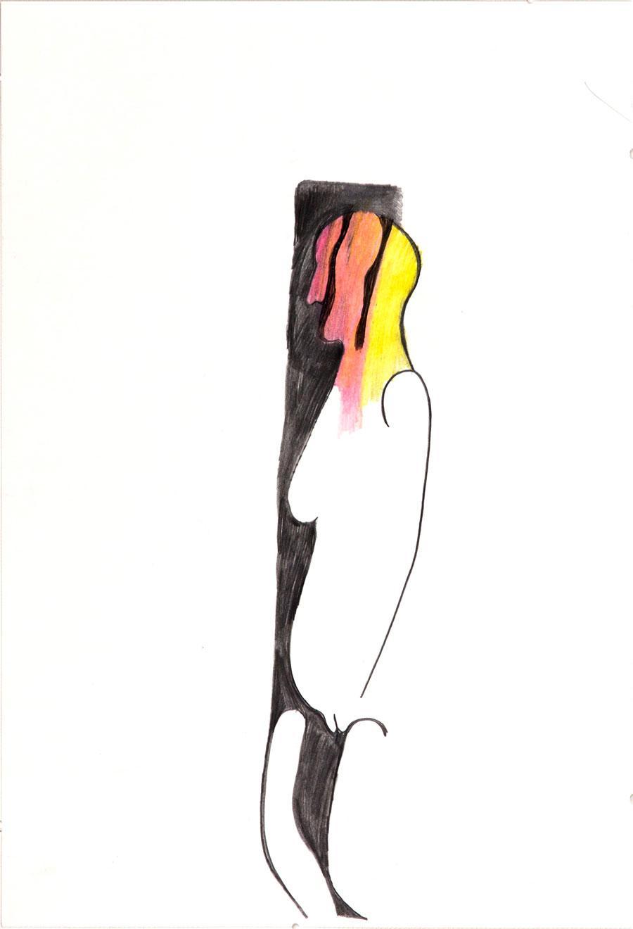 """""""ROTE FRAU"""", 1997, 44 x 30 cm, Buntstift auf Papier"""